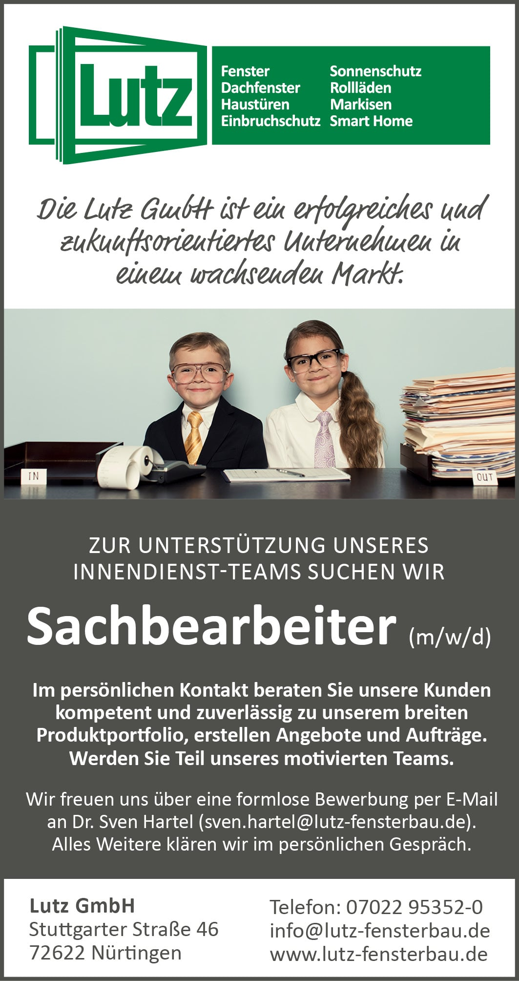 Anzeige Sachbearbeiter/in