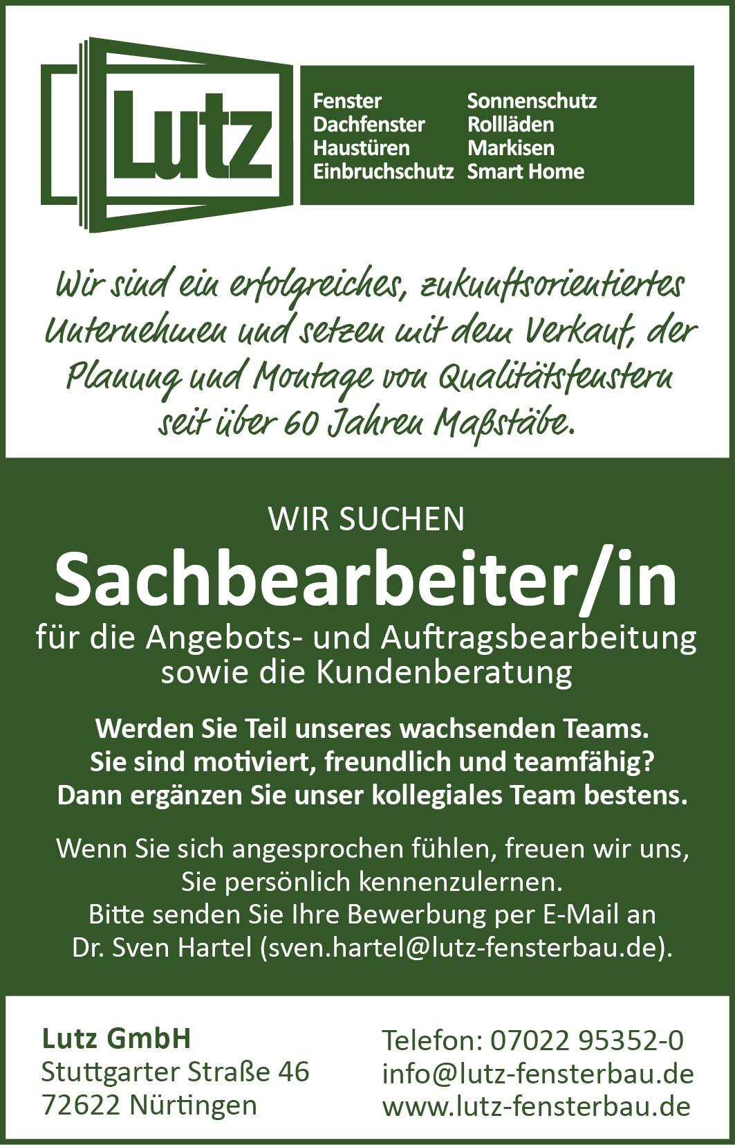 Anzeige Glaser/in